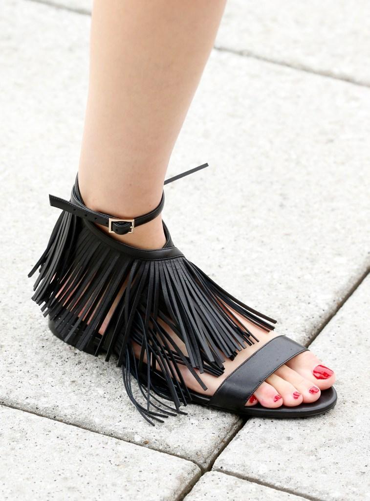 Model on the catwalk, shoe detailOscar de la Renta show, Detail, Spring Summer 2019, New York Fashion Week, USA - 11 Sep 2018