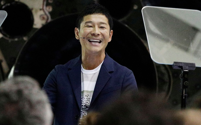 Japanese billionaire Yusaku Maezawa speaks after SpaceX founder and chief executive Elon Musk announced him as the person who would be the first private passenger on a trip around the moon, in Hawthorne, CalifSpaceX Moon, Hawthorne, USA - 17 Sep 2018