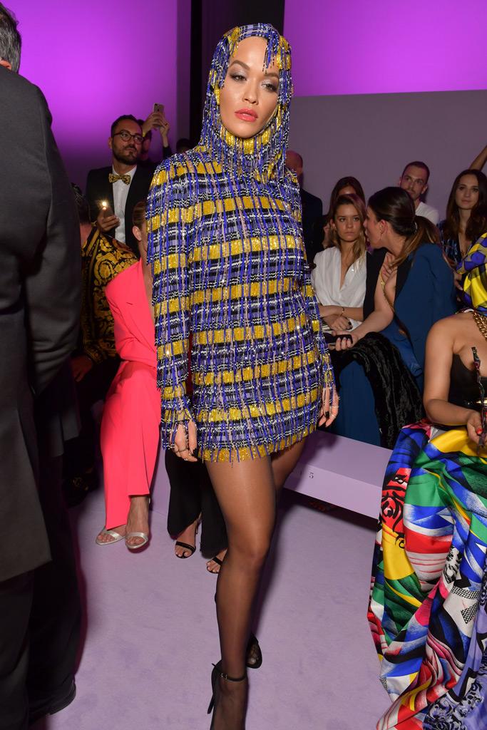 Rita Ora, versace front row, runway, spring 2019