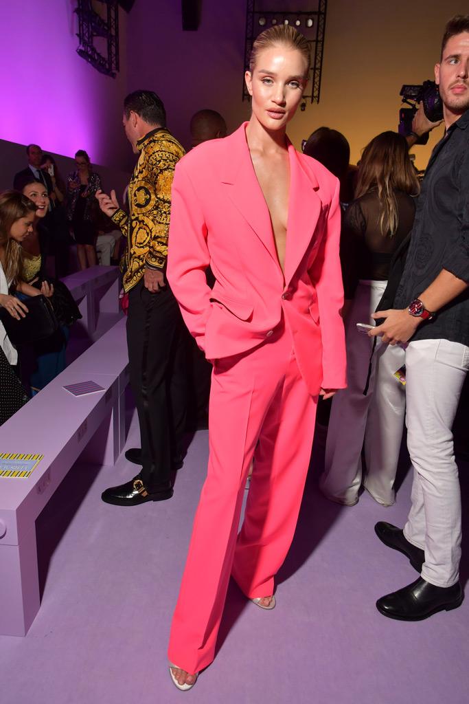Rosie Huntington-Whiteley, Versace spring 2019 runway presentation front row