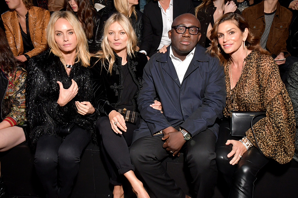 Amber Valetta, Kate Moss, Edward Enninful and Cindy CrawfordSaint Laurent show, Front Row, Spring Summer 2019, Paris Fashion Week, France - 25 Sep 2018