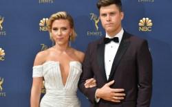 Scarlett Johansson, colin jost, emmys arrivals