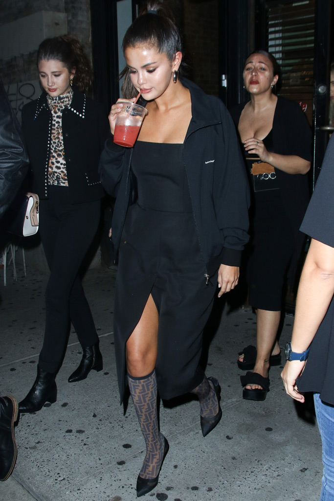 Selena Gomez, New York, logomania, fendi sock boots, lbd