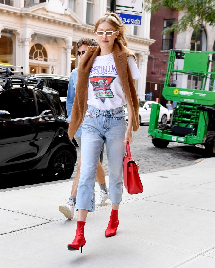 Gigi Hadid in red leather Senso boots.