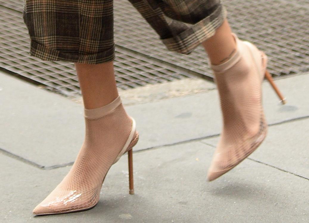 Alexander Wang's Caden fishnet heels, hailey baldwin feet
