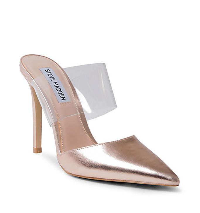 steve madden plaza sandals, rose gold pvc