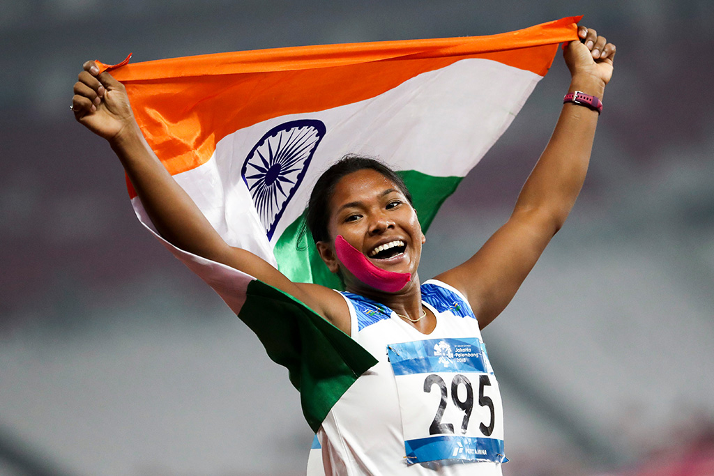 Gold medalist Swapna Barman of India celebrates winning the Heptathlon after the 800 meter event at the Asian Games 2018 in Jakarta, Indonesia, 29 August 2018.Asian Games 2018, Jakarta, Indonesia - 29 Aug 2018