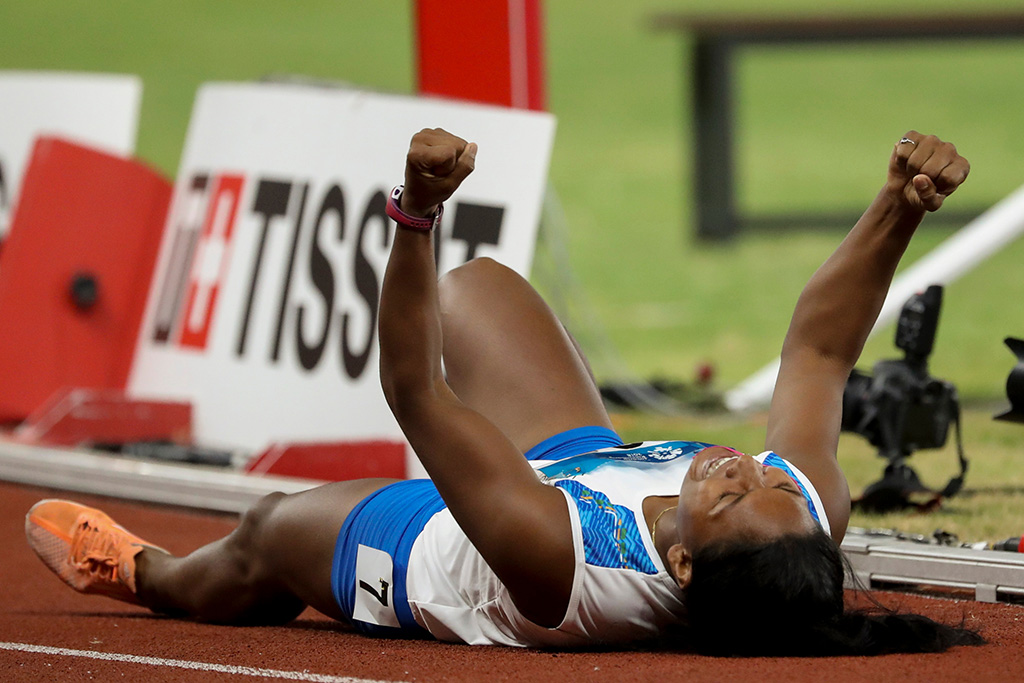 Gold medalist Swapna Barman of India celebrates winning the Women's Heptathlon after the 800 meter event at the Asian Games 2018 in Jakarta, Indonesia, 29 August 2018.Asian Games 2018, Jakarta, Indonesia - 29 Aug 2018