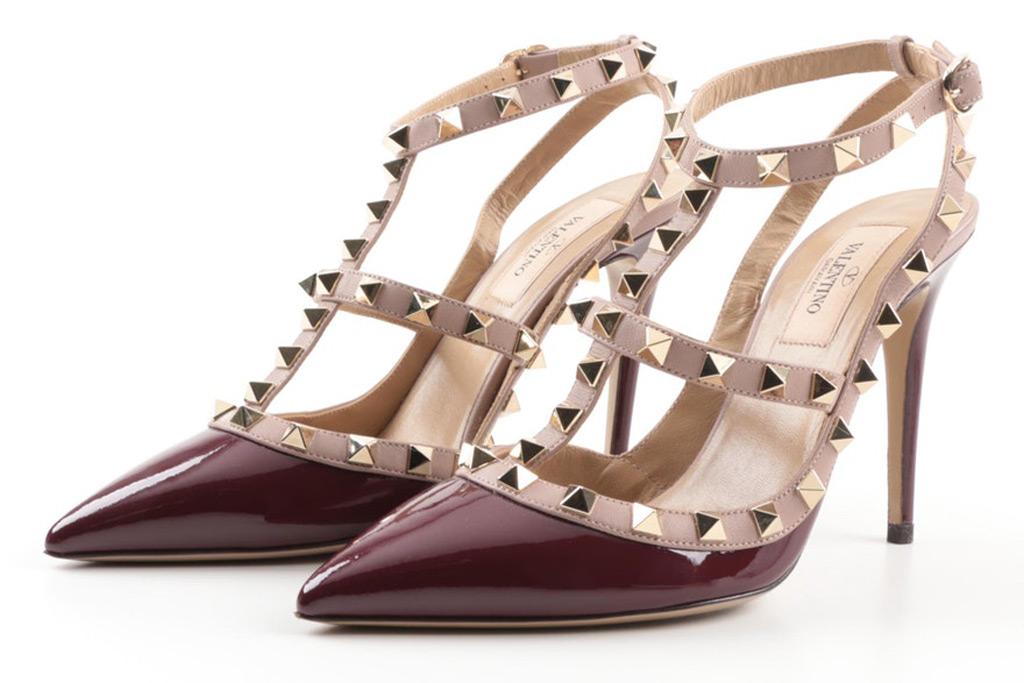 Valentino Garavani Rockstud Patent and Matte Leather Studded Stiletto Pumps