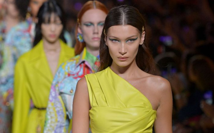 versace spring 2019 bella hadid neon trend