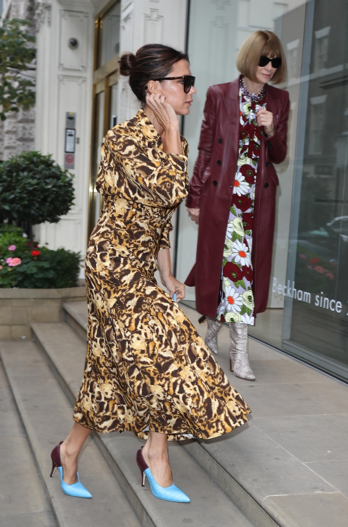 victoria beckham street style, anna wintour, london fashion week
