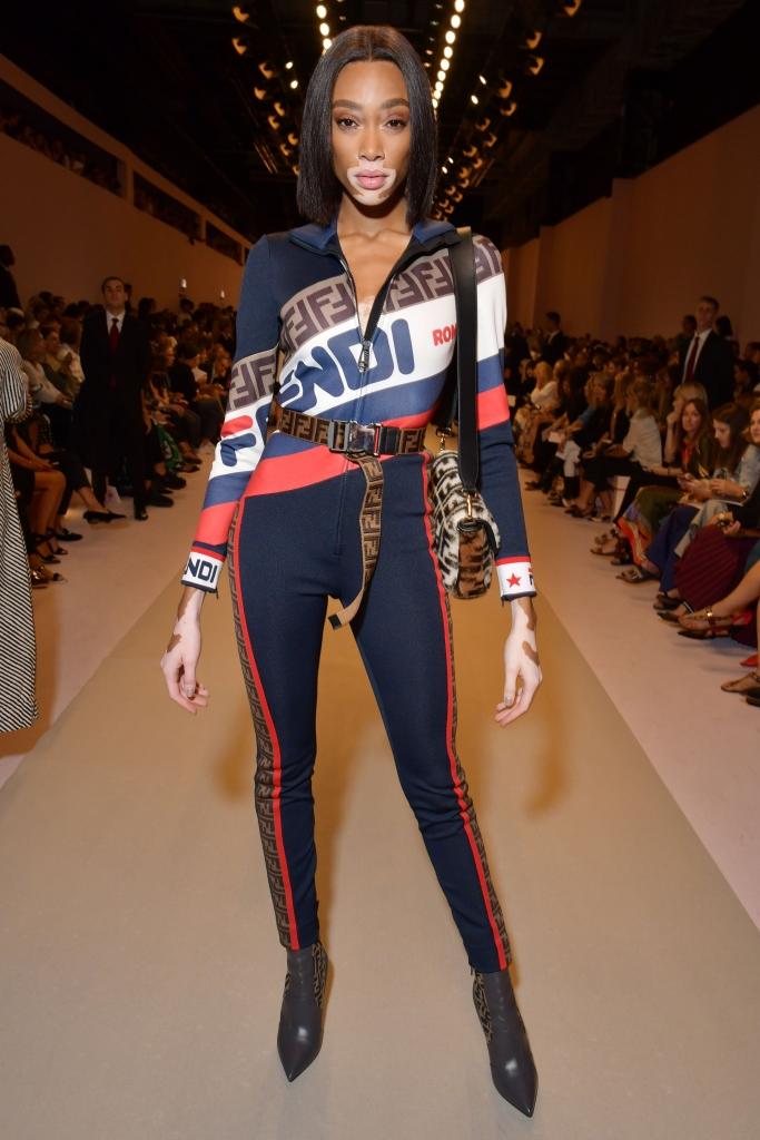 winnie harlow, fendi, front row, milan fashion week