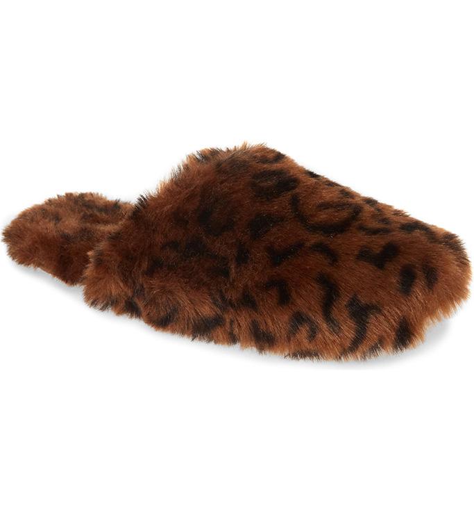 Madewell Faux Fur Animal Print Slipper