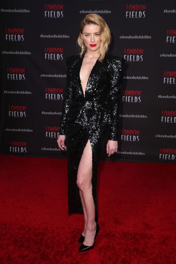 Amber Heard, red carpet, elie saab, legs, christian louboutin, stilettos