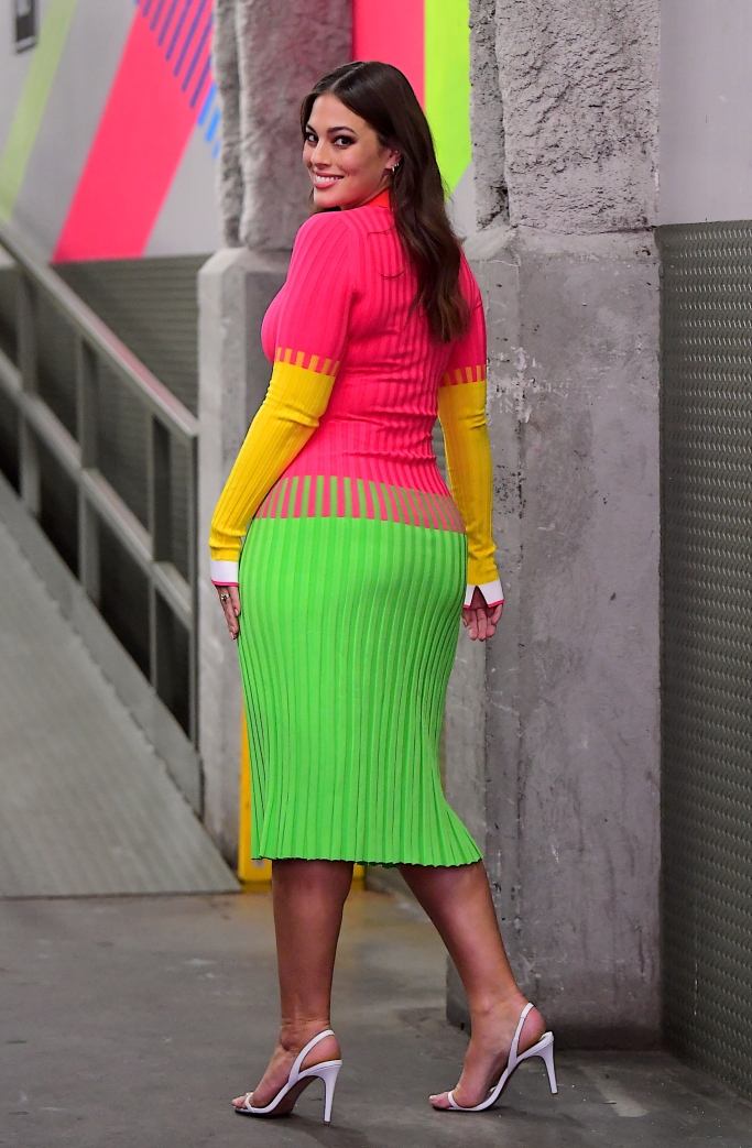 ashley graham, neon dress, vogue forces of fashion 2018, white sandals