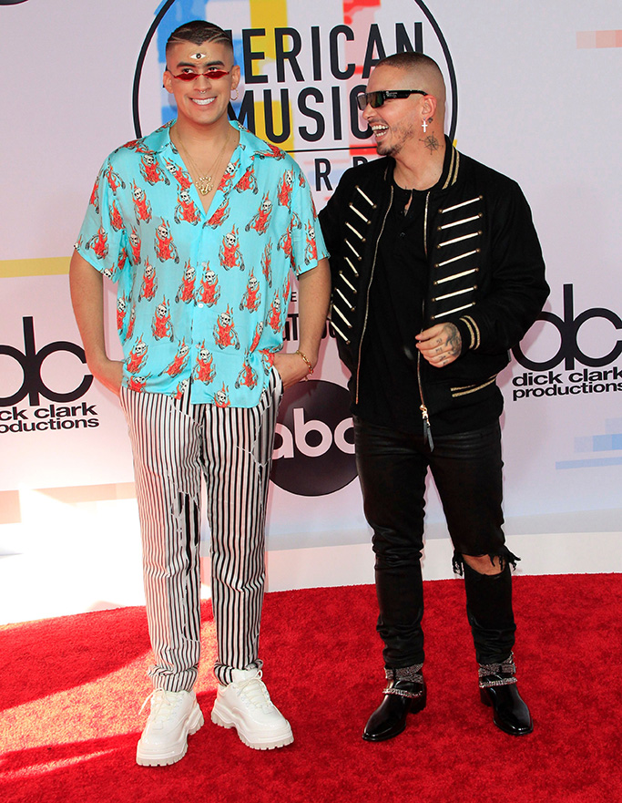 Puerto Rican singer Bad Bunny (L) and Colombian singer J Balvin (R) arrive for the 2018 American Music Awards at the Microsoft Theater in Los Angeles, California, USA, 09 October 2018. Arrivals - American Music Awards 2018, Los Angeles, USA - 09 Oct 2018
