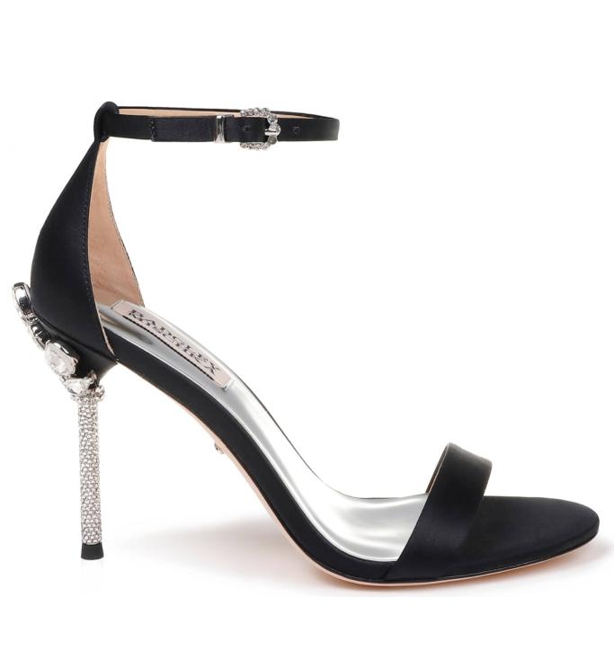 badgley mischka Vicia Crystal Embellished Heel Sandal