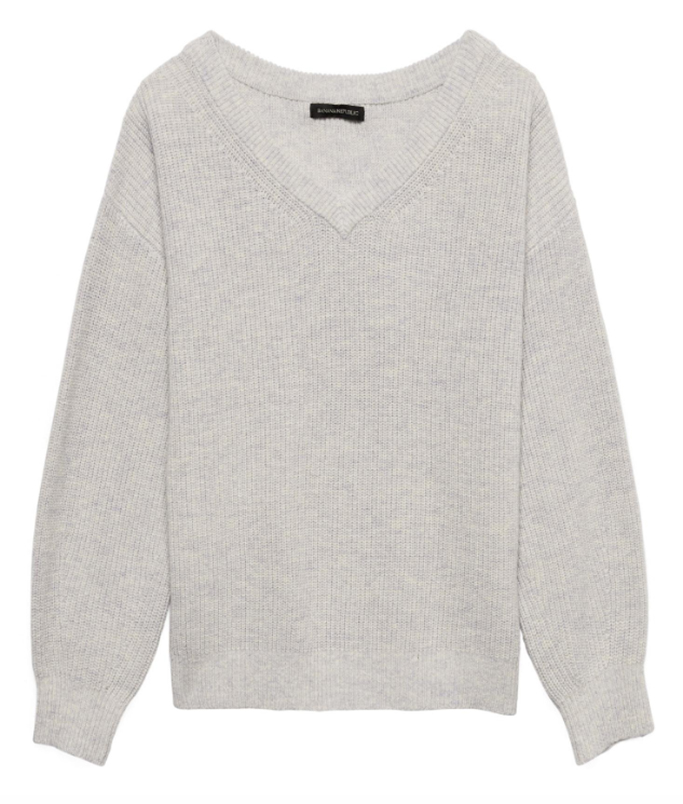 Banana RepublicWool-Cotton Blend Ribbed V-Neck Sweater