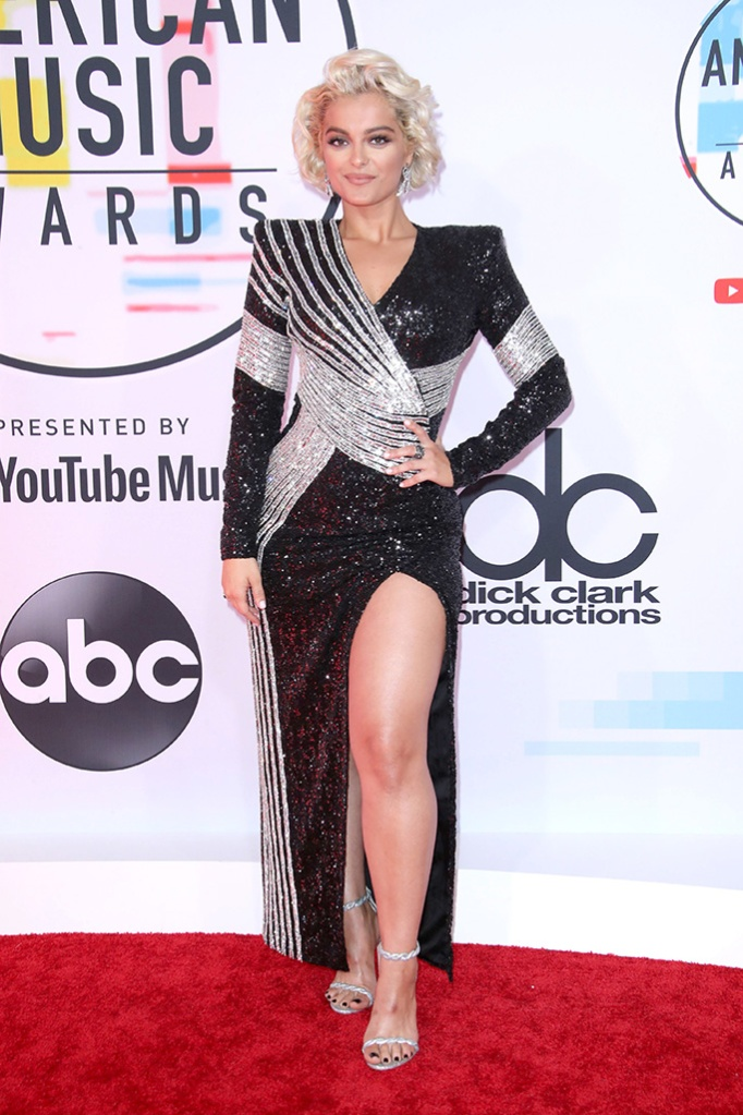 Bebe Rexha, legs, red carpet, amas, American Music Awards, Arrivals, Los Angeles, USA - 09 Oct 2018