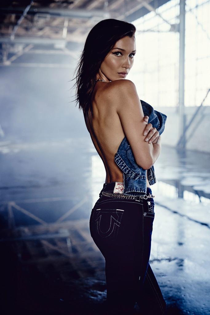 Bella Hadid, True Religion, campaign, topless,