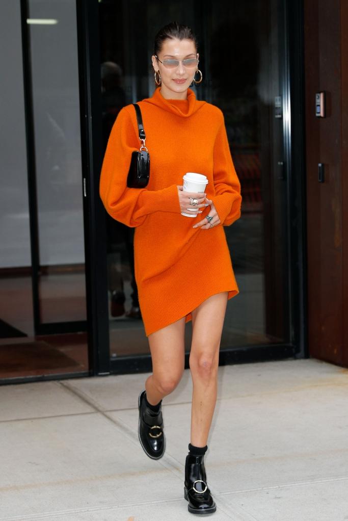 bella hadid, sweater dress, street style