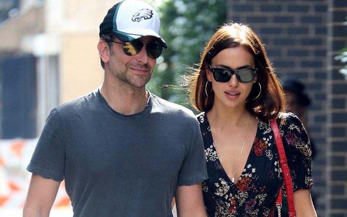 Bradley Cooper takes his daughter for a walk wearing Nike sneakers alongside his girlfriend, Irina Shayk, Oct. 4.