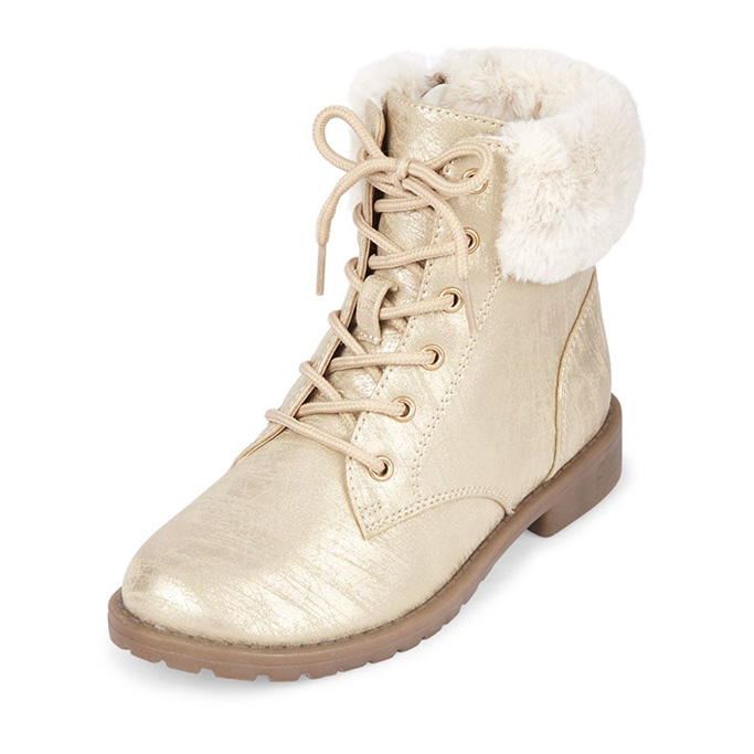 Girls Faux Fur Lace-Up Metallic Maddy Boot