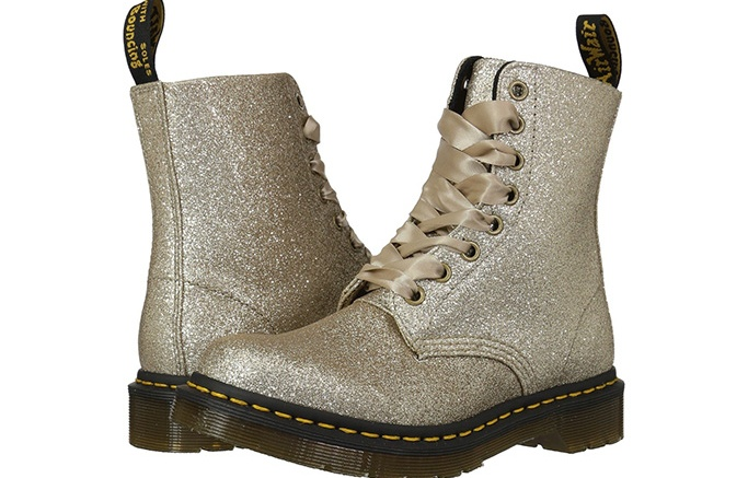 Dr. Martens 1460 Pascal Glitter Core in pewter glitter
