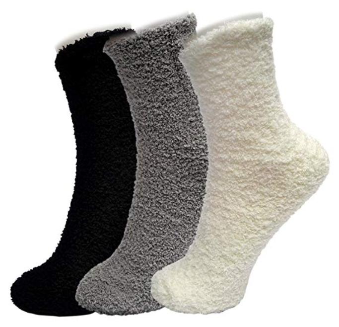 ellite ELLITE Womens Premium Soft Fuzzy Solid Stripe Winter Warm Microfiber Crew Socks