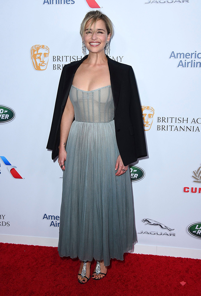 Emilia Clarke arrives at the 2018 BAFTA Los Angeles Britannia Awards at the Beverly Hilton on in Beverly Hills, Calif2018 BAFTA Los Angeles Britannia Awards, Beverly Hills, USA - 26 Oct 2018