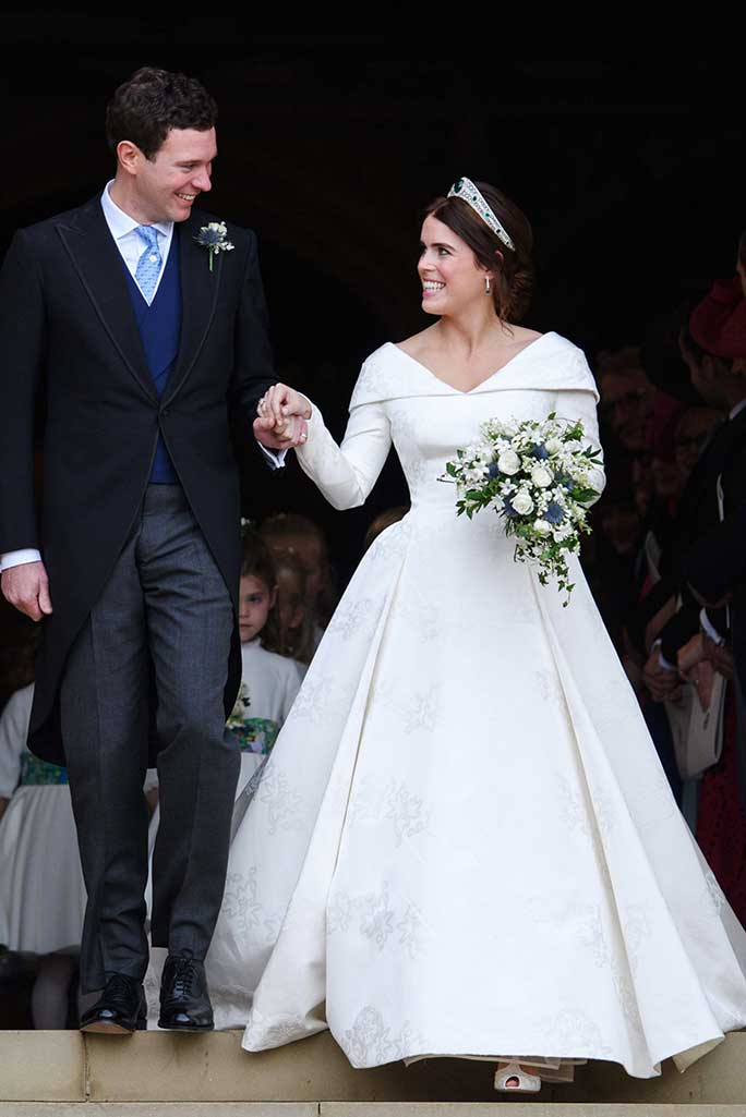 Princess Eugenie wears peep-toe sandals by Charlotte Olympia.