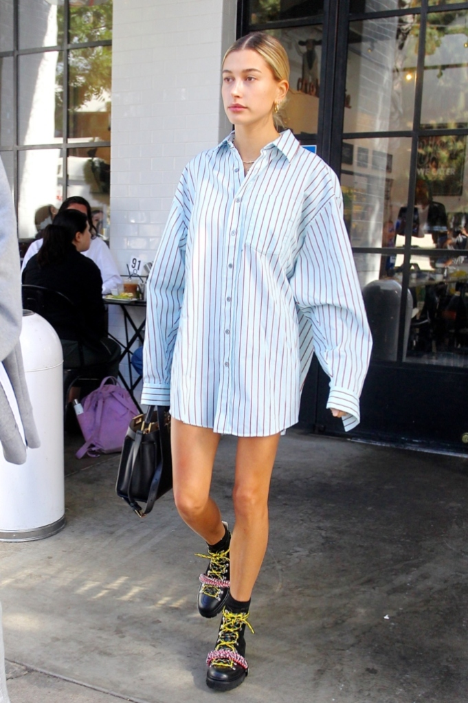house of holland grenson boots, fendi peekaboo bag, acne studios oversized striped shirt, hailey baldwin street style
