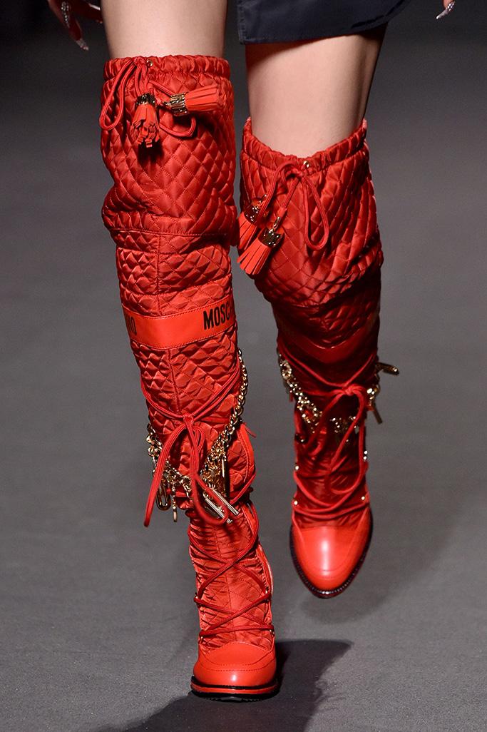 Model on the catwalk, shoe detailMoschino x H&M show, Runway, New York, USA - 24 Oct 2018
