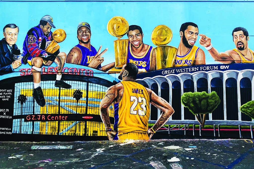 Los Angeles Lakers mural Sportie LA Melrose Avenue