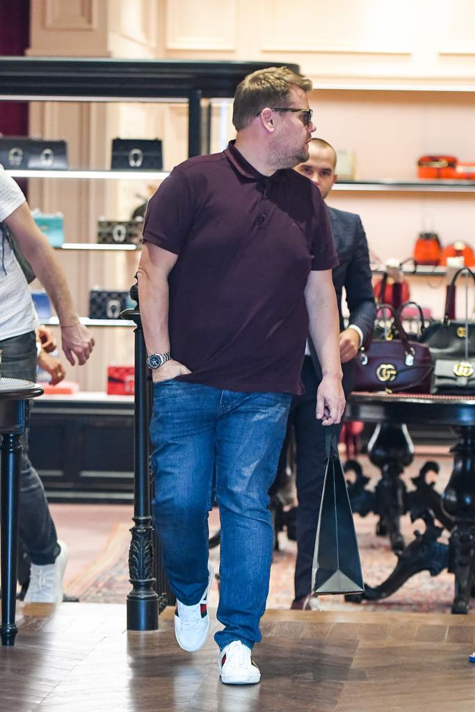 James Corden, polo shirt, Gucci sneakers