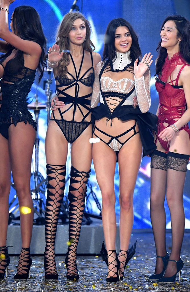 Gigi Hadid, Kendall Jenner, catwalk, Victoria's Secret Fashion Show, Runway, Grand Palais, Paris, France - 30 Nov 2016