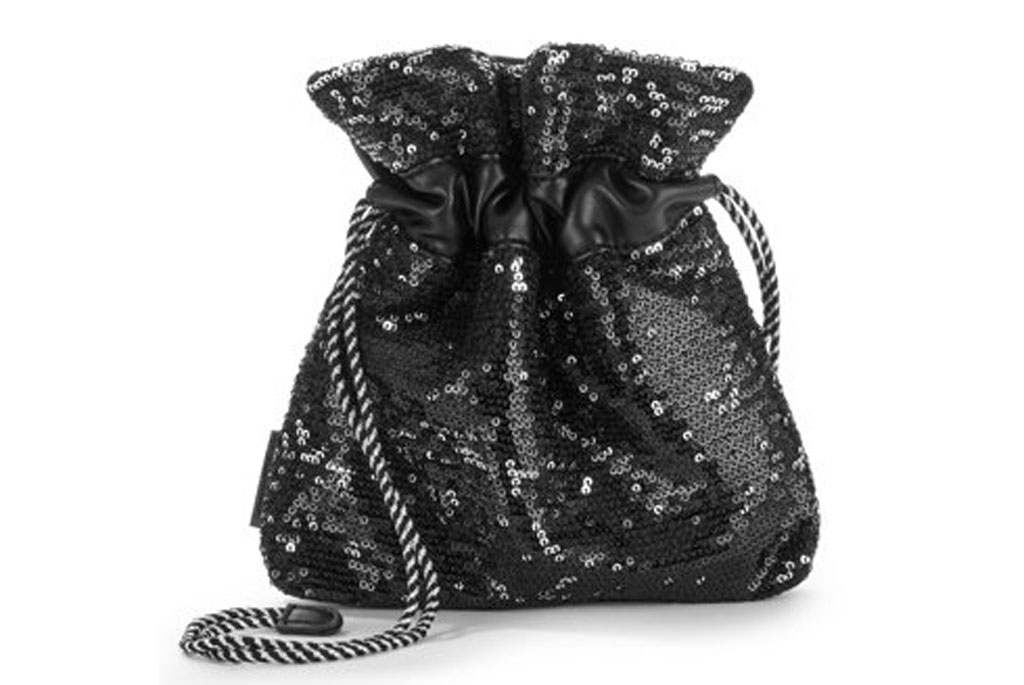 Small Pouch Crossbody With Black & Silver Sequins