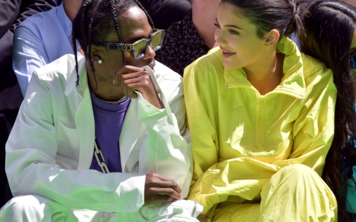 travis scott and kylie jenner front row