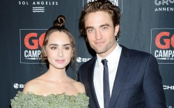 Lily Collins and Robert Pattinson, red