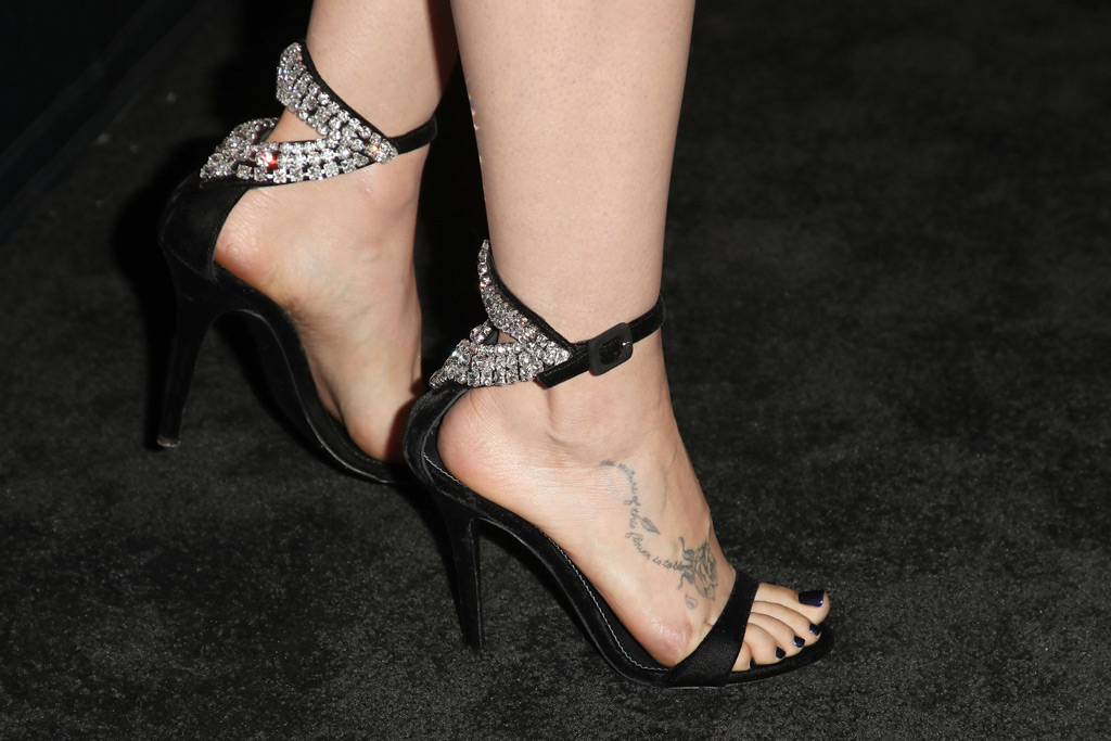Lily Collins, shoes, sandals, crystals, embellishment