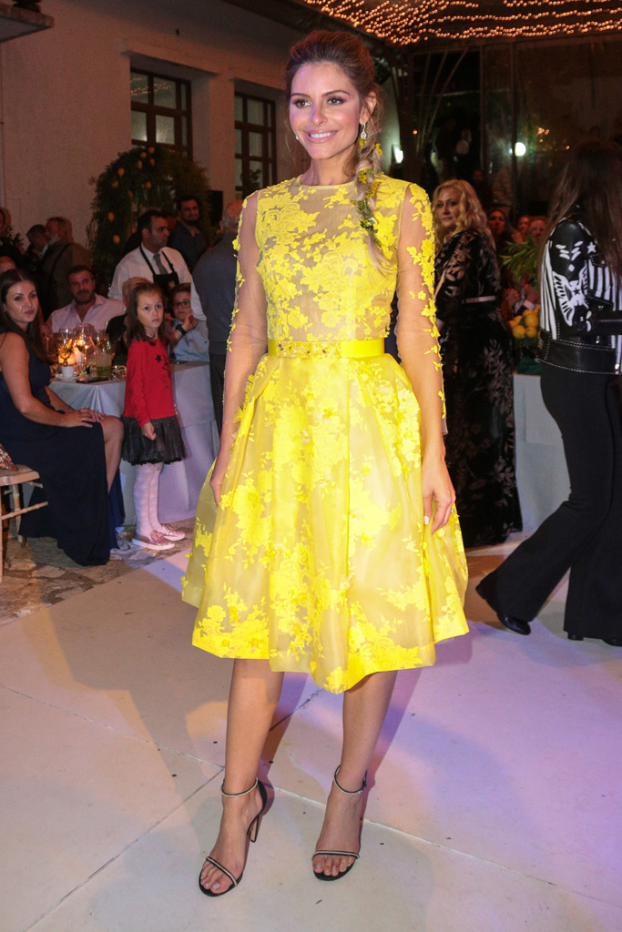 Maria Menounos, wedding, after party, yellow, dress, wedding dress, ankle strap sandals