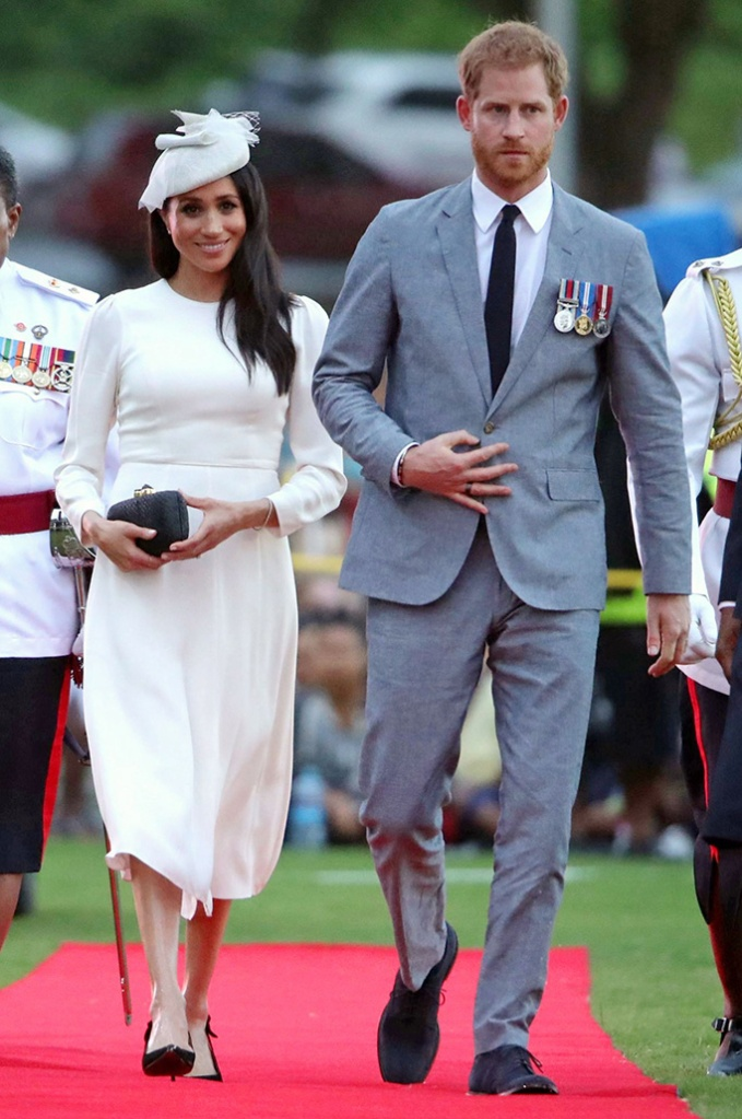 zimmermann dress, tabitha simmons shoes, Meghan Duchess of Sussex and Prince Harry attend an official welcome ceremony in the city centre's Albert Park, SuvaPrince Harry and Meghan Duchess of Sussex tour of Fiji - 23 Oct 2018The Duke and Duchess will attend an official welcome ceremony in the city centre's Albert Park. The ceremony, known as the Veirqaraqaravi Vakavanua, embodies Fijian cultural identity and heritage, and will mirror in format that of the one attended by The Queen and The Duke of Edinburgh in 1953. It will involve a number of traditional elements of Fijian culture, including the presentation of the Tabua, and a Kava ceremony. A traditional dance, known as the Meke, will also be performed by members of the Nakelo village.