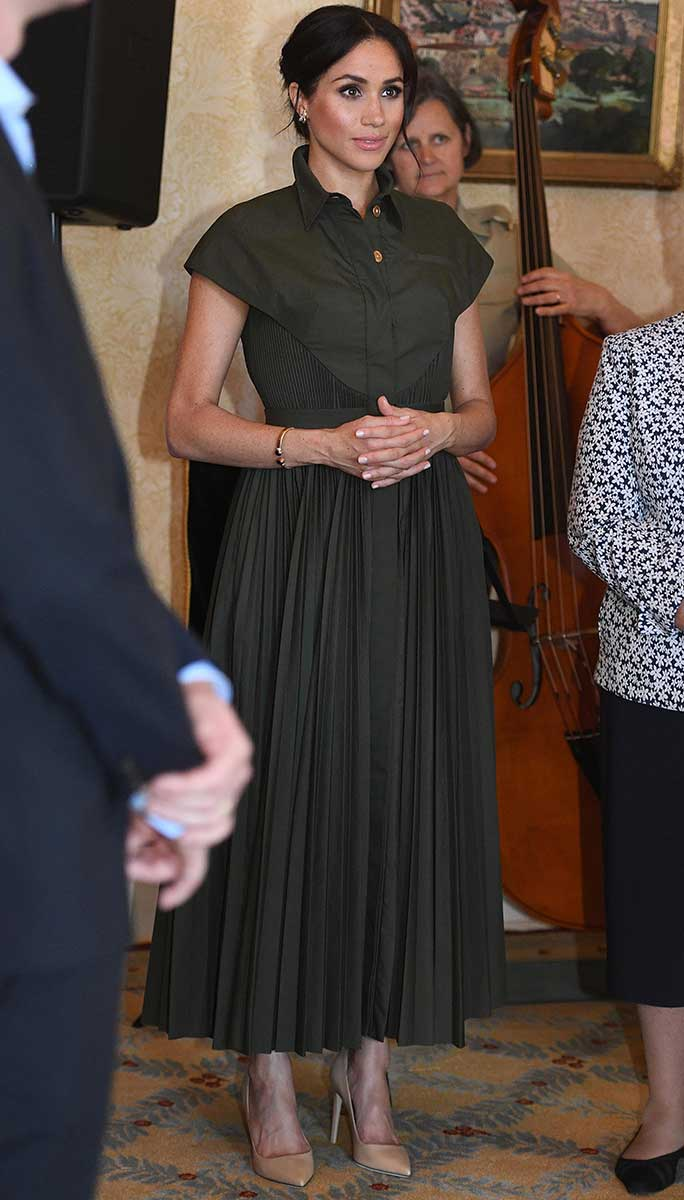Meghan Markle wears a dress by Lady Gaga favorite Brandon Maxwell at a Sydney reception.