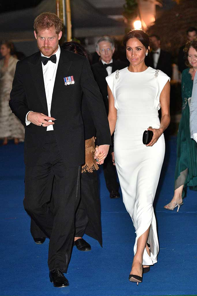 Meghan Markle wearing Theia Couture and Aquazzura pumps.
