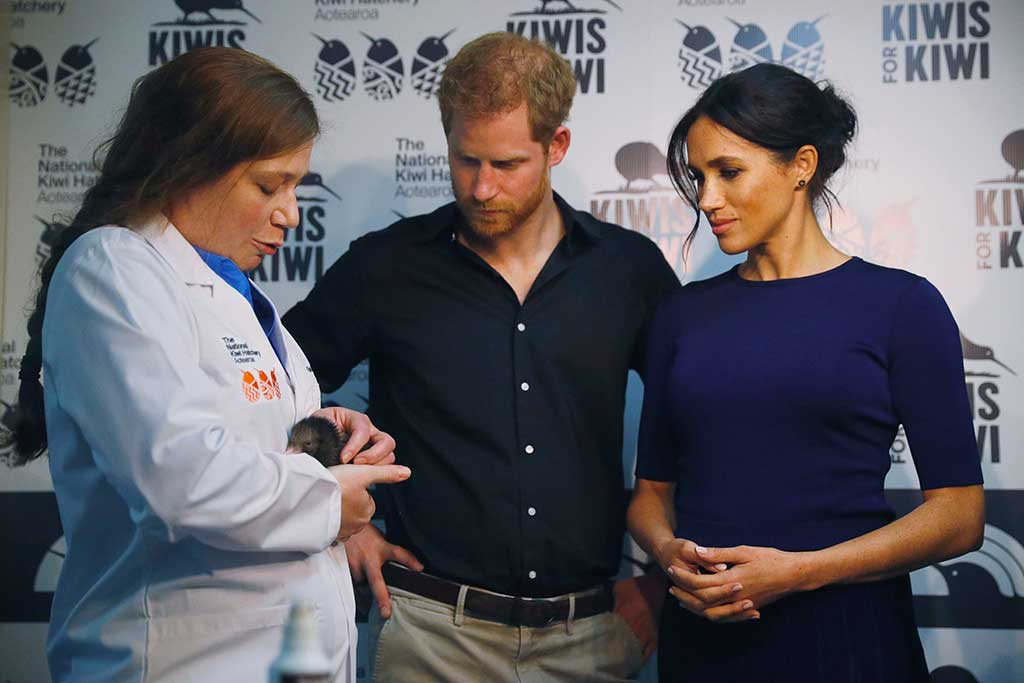 Meghan Markle wears an ensemble by Givnchy with pumps by Manolo Blahnik in New Zealand.