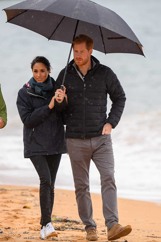 Meghan Markle and Prince Harry in New Zealand. Markle wears Stella McCartney x Adidas Stan Smith sneakers.