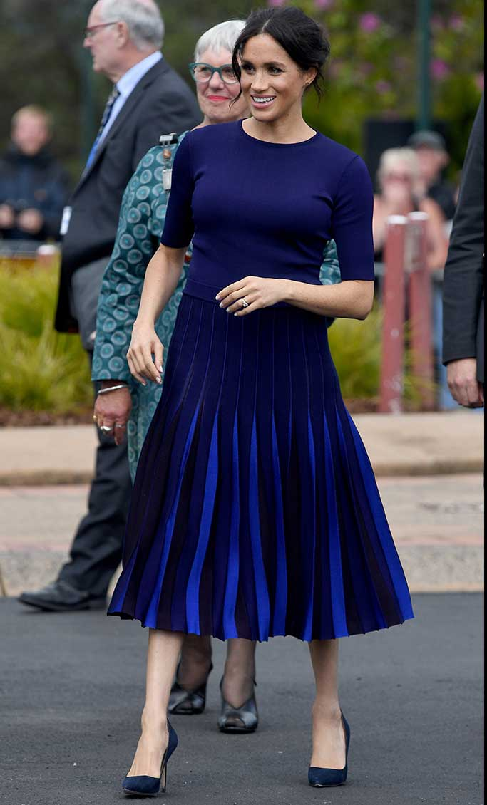 Meghan Markle wears an ensemble by Givenchy with pumps by Manolo Blahnik in New Zealand.