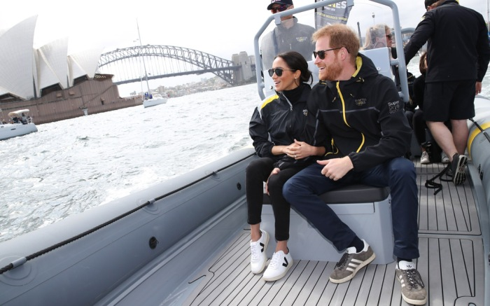 meghan markle, sydney, australia, prince harry, pda, boat ride, invictus games, sailing