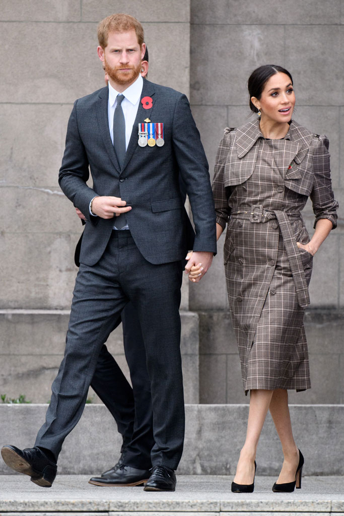 meghan markle, prince harry, new zealand, royal tour, sarah flint, karen walker, pregnant, asos, dress