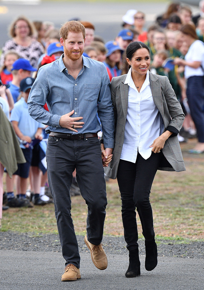 j crew boots, serena williams collection jacket, Pool - No RestrictionsMandatory Credit: Photo by Tim Rooke/REX/Shutterstock (9934576ab)Prince Harry and Meghan Duchess of SussexPrince Harry and Meghan Duchess of Sussex tour of Australia - 17 Oct 2018